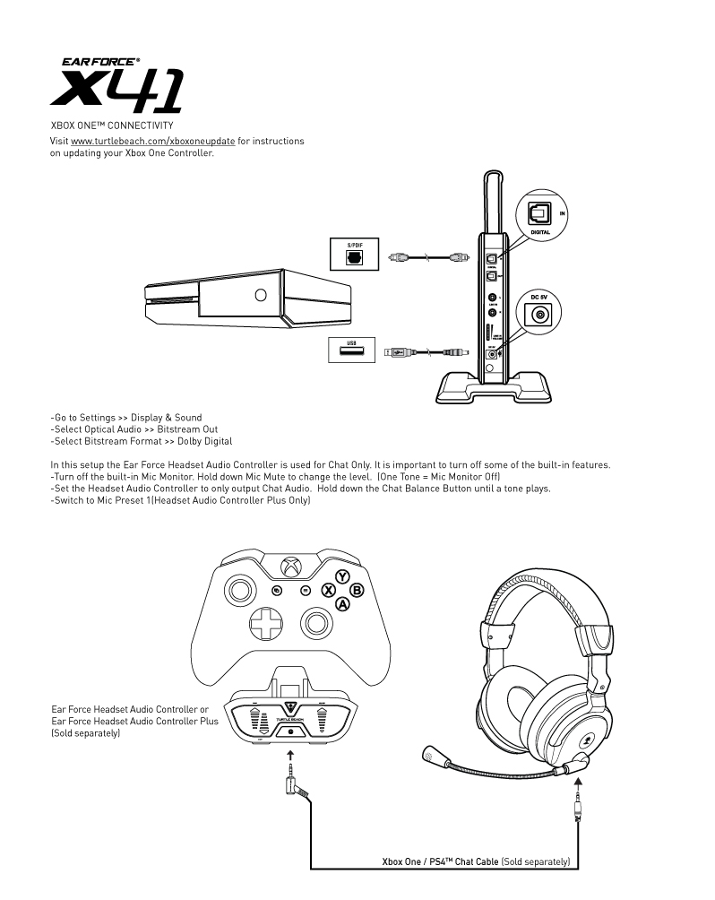 X41_Xbox One Setup_Diagram x41 xbox one setup diagram turtle beach Audio Jack Wiring Diagram at mifinder.co